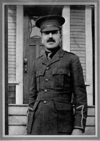 Photo of Donald Moore– Donald Moore, born in Hopewell Hill (Albert County, NB) was serving with the 16th Scottish Battalion when he was killed in the famous Orchard Battle at  Festubert, France on May 22, 1915. He is named on the Vimy Memorial.