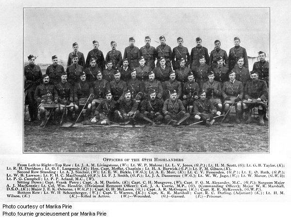"""Group Photo– Officers of the 48th Highlanders from """"The Red Watch - With the First Canadian Division in Flanders"""" written by Colonel J.A. Currie, M.P.  Published in Toronto in 1916 and dedicated to the memory of the Canadian soldiers who fell in Flanders.  In this group portrait he is third from the left (standing) in the second row from the top."""