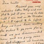 Lettre p.1 – Nels est mort au champ d'honneur le 2 juin 1916, à Ypres en Belgique, 8 mois et demi environ après avoir écrit cette lettre. Il n'a pas de sépulture. Son nom est gravé, avec des milliers d'autres, sur le Mémorial de la Porte de Menin à Ypres (Belgique).
