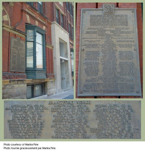 Commemorative Plaque– Today the 1914-1918 war memorial plaque for the Massey Harris Company is  located on the outside of their former head office at King Street West,  Toronto, Ontario.  This plaque includes a separate list for the men who were  employed at the Brantford Works.