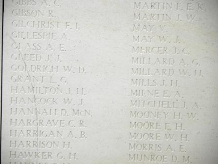 Inscription– Menin Gate panel where Private John Mercer is commemorated.  Photo by BGen Young (ret) and submitted by Capt (ret) V Goldman of the 15th Bn Memorial Project.  DILEAS GU BRATH