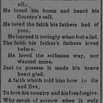 Newspaper Clipping– This requiem poem was from the Walkerton Telescope, August 24, 1916 edition.
