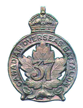 Cap Badge– Cap Badge 37th Bn.  Pte Quinlan was a member of this unit before transfer to the 15th Bn as a reinforcement.