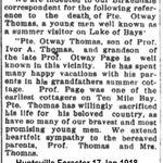 Newspaper clipping– Huntsville ON Forester  17 Jan 1918