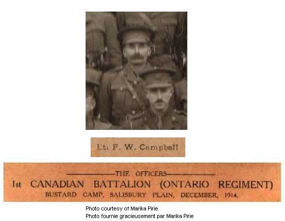 Photo of Frederick William Campbell– From an official group portrait of the officers of the 1st Canadian Battalion (Western Ontario) taken at Bustard Camp, Salisbury Plain in December 1914.