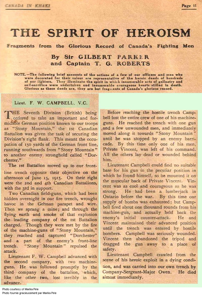 Press clipping– This account published in 1917 in 'Canada in Khaki' magazine honours the heroism of Captain F. W. Campbell, V.C. The magazine was published for the Canadian War Records Office by the Montreal Star Publishing Co. Ltd., with net profits going to the Canadian War Memorials Fund.
