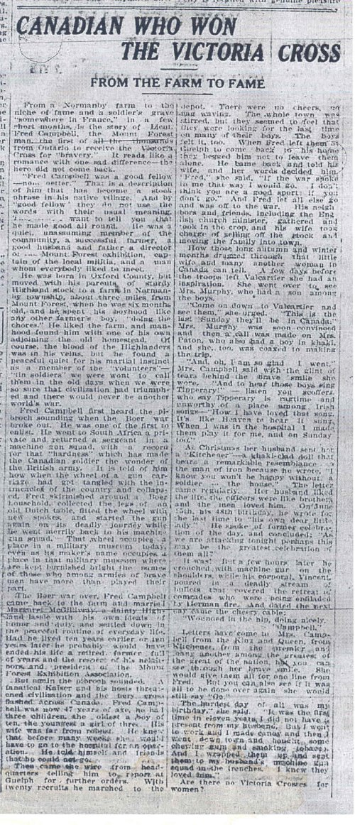 Newspaper Clipping– Newspaper article - From the Farm to Fame - chronology of the life of Lt. Frederick William Campbell, Victoria Cross recipient.
