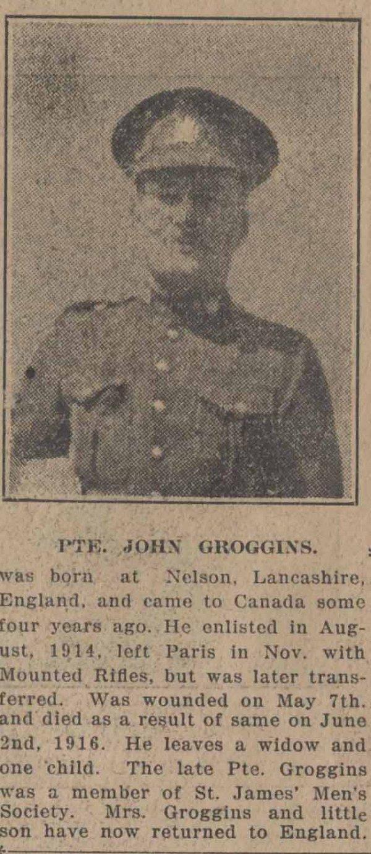 Newspaper Clipping– Brantford Courier December 16, 1916.