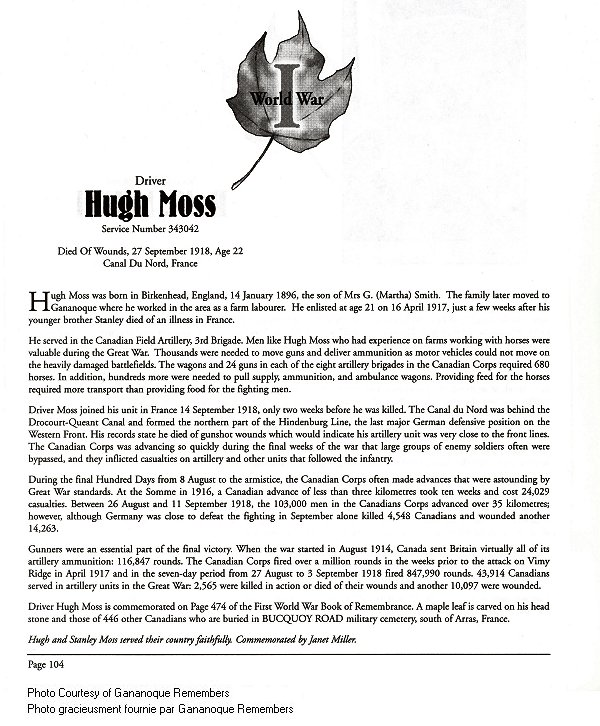 Memorial Page– Hugh Moss is honoured on page 104 of the Gananoque Remembers booklet, published on January 31, 2005.