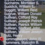 Memorial– Pilot Officer John Wilson Summerhayes is also commemorated on the Bomber Command Memorial Wall in Nanton, AB … photo courtesy of Marg Liessens