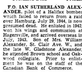 Newspaper clipping– From the Toronto Star June 1045. Submitted for the project Operation Picture Me