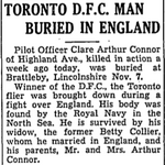 Newspaper clipping– From the Toronto Star November 1940. Submitted for the project Operation Picture Me