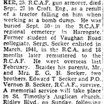 Newspaper clipping– From the Toronto Star October 1944. Submitted for the project Operation Picture Me