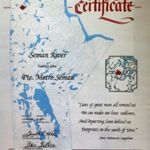 Certificate– The Canadian Government has named lakes and rivers in memory of the soldiers who died fighting for our country.  This is Metro's, Seman River in northern Manitoba.