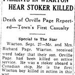 Coupure de Journal – De le Toronto Star, Septembre 1941. Soumis pour le projet Opération Photo Moi