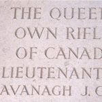 Memorial inscription– This photo of the inscription honouring Lieutenant Kavanagh on the Memorial Wall at Groesbeek Cemetery in Holland, was taken by myself during a trip there in June, 1994.