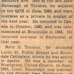 Obituary notice– This obituary of Lieutenant Kavanagh was clipped from a Toronto newspaper by Mrs. Ulla Richardson in 1945.
