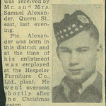 Newspaper clipping– From the Kitchener Public Library collection of World War Two Soldier Information Cards. Submitted for the project Operation Picture Me