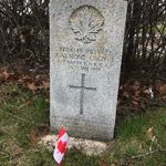 Grave marker– Grave marker of Pte Raymond GAGNUE at Bathurst (Sacred Heart) R.C. Cemetery, Bathurst NB, Canada. (Photo credit: Captain (Ret'd) E.L.L. Gaudet, CD)