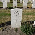 Grave marker– Grave marker from Franklyn Roy Burke's grave at Uden Commonwealth War Cemetery, The Netherlands.