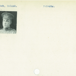 Photo of ROLAND ENGLISH– From the Kitchener Public Library collection of World War One Soldier Information Cards. Submitted for the project Operation Picture Me