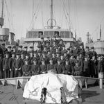 Photo of ALBERT KYNMAN– A photograph of the ship's company of HMCS Esquimalt taken in March 1945, a month before the ship was torpedoed off Halifax. CPO Kynman is likely one of the sailors in this photo.
