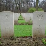 Grave marker– In remembrance to F/O Gibson Scott R.C.A.F. killed in action in Lancaster KB834 of 434 squadron March 11/1945 during air operations over Essen Germany. Only surviving crew member F/O Henri Bernard Marceau R.C.A.F. - POW who courageously completed 47 missions through 2 tours of North Africa and Europe.   In Remembrance To The AirCrew Of Lancaster KB834 434 Squadron,   F/O T.D. Copeland, R.C.A.F. F/O J. Latremouille, R.C.A.F. F/LT R. Fern, R.C.A.F. P/O W. Jones, R.A.F. F/LT A.G. Rowe, R.C.A.F. F/O G. Scott, R.C.A.F. F/O H.B. Marceau, R.C.A.F. - POW   Lest We Forget