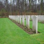 Grave Markers– A row of Grave Markers marking the final resting place of the 6 men killed in action in Lancaster KB834 of 434 squadron on March 11/1945 during air operations over Essen Germany.