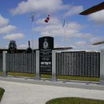 Memorial– Pilot Officer Thomas Delmer Scott is commemorated on the Bomber Command Memorial Wall in Nanton, AB … photo courtesy of Marg Liessens