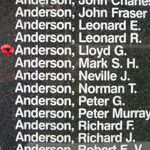 Memorial– Flight Sergeant Lloyd George Anderson is also commemorated on the Bomber Command Memorial Wall in Nanton, AB … photo courtesy of Marg Liessens
