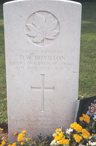 Gravemarker– This photo of Rfn Boynton's gravemarker was taken by Padre Craig Cameron of The QOR of C in June 1997.