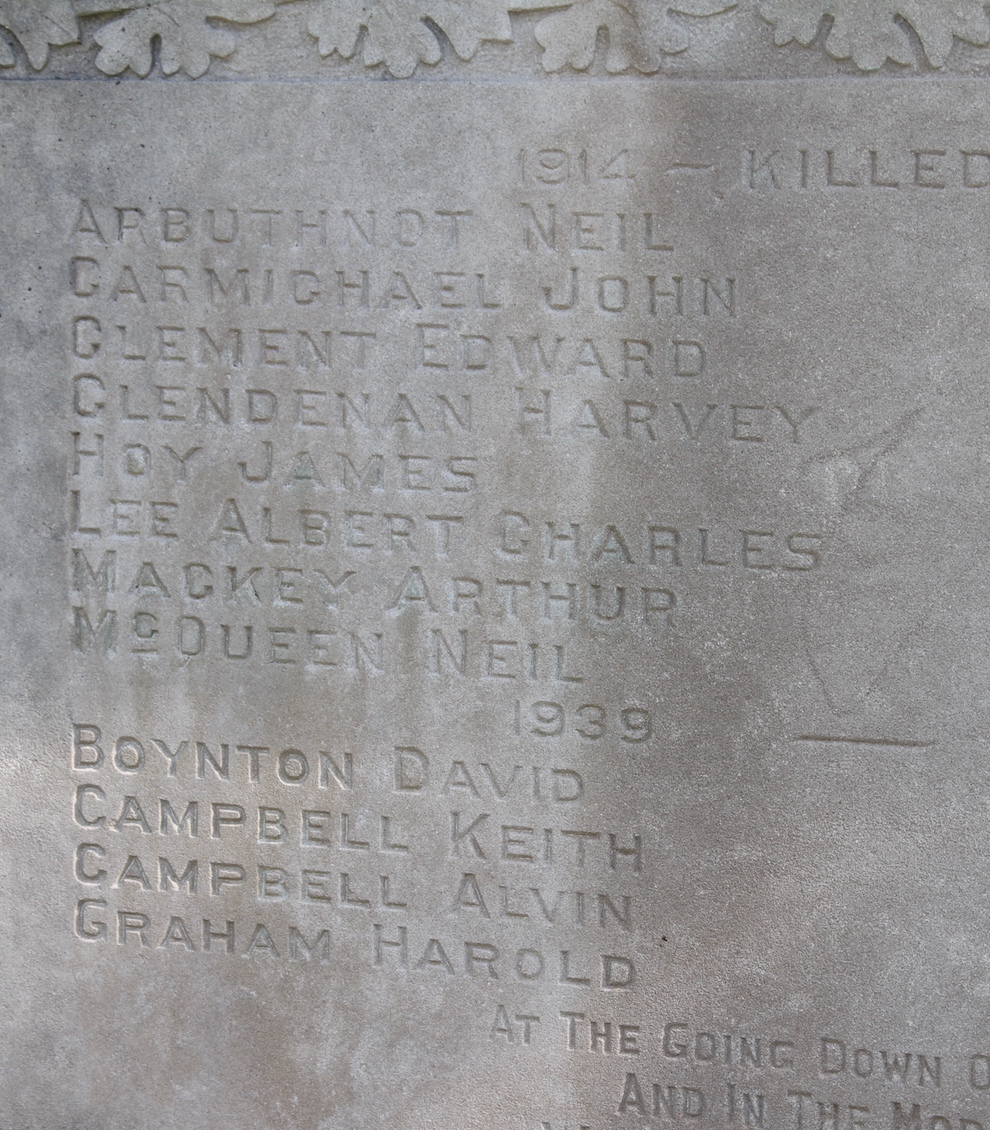 Inscription– In memory of men and women from the Ravenna Ontario area that went off to war and to those who did not come home, they will never be forgotten. Submitted for the project, Operation Picture Me