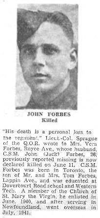 Obituary– This obituary of Company Sergeant Major Forbes was clipped from a Toronto newspaper in 1944 by Mrs. Josie McQuade.