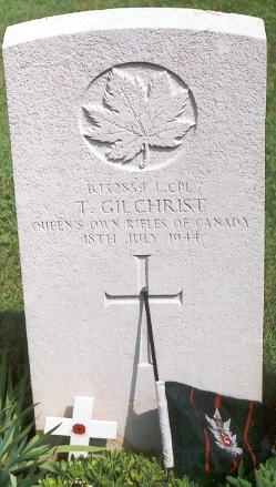 Grave marker– This photo of Cpl Gilchrist's gravemarker was taken by Padre Craig Cameron of The QOR of C on June 6th, 2003.