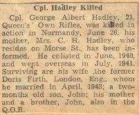 Obituary– This obituary of Corporal Hadley was clipped from a Toronto newspaper in 1944 by Mrs Josie McQuade.
