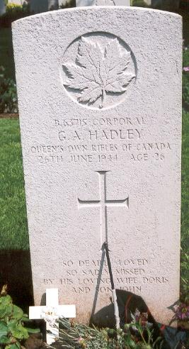 Grave Marker– This photo of Cpl Hadley's gravemarker was taken by Padre Craig Cameron of The QOR of C on June 6th, 2003.