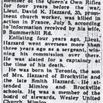 Obituary notice– This copy of Lt Hazzard's obituary in a Toronto paper was obtained by myself.