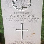 Grave marker– This photo of Lieut Hazzard's gravemarker at Beny-sur-mer Cmetery was taken by Padre Craig Cameron of the QOR of C,  on June 6, 2003.