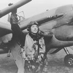 Photo of Ross Johnson– Ross E. Johnson with his Hawker Typhoon in the spring of 1944.