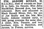 Newspaper clipping– From the Toronto Star November 1944. Submitted for the project Operation Picture Me