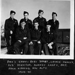 Group Photo– 1945 Crew members of Lancaster X KB-859, 431 'Iroquois' Squadron, 6 Group, Bomber Command, was shot down on a mission over Hamburg, coded SE-U, failed to return (SOC 31.3.45). Only the pilot, F/Lt Patrick Joseph 'Pat' Hurley RCAF'POW, survived from this crew.    Back Row (l-r): P/O Albert 'Bert' Dorey, RCAF; Sgt. Laurence John 'Laurie' Mercer, RAF; F/O Patrick B. 'Red' Dennison, RCAF; F/O John Joseph 'Johnny' Casey, RCAF.  Front Row (l-r): F/Lt Patrick Joseph 'Pat' Hurley RCAF¿POW; F/O Martin 'Jack' Hartog, RCAF; F/O Frederick Roy 'Roy' Alty, RCAF.  Operation Summary: March 31, 1945 - 100 Halifaxes from 408, 415, 420, 425, 426, and 432 squadrons were joined by 100 Lancasters from 419, 424, 427, 428, 429, 431, 433, and 434 on an attack at the Blohm & Voss shipyards at Hamburg. The crews were over the target at between 17,000 and 19,500 feet, releasing 1,908,000 lbs of high explosives. According to reports, the target was cloud covered but extensive damage was caused in the industrial area of Hamburg. The 6 Group was in the last wave of the attack and was attacked by many ME-262s.  8 crews failed to return, mostly due to attacks by these aircraft.