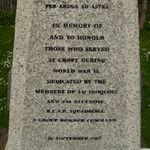 Inscription– Centre of the Memorial. The memorial is located in Dalton-on-Tees, Yorkshire.