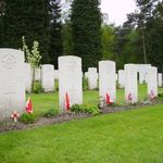 Becklingen War Cemetery– Row of headstones in Becklingen War Cemetery.  (This set of headstones is a crew from 431 Squadron, that went down over Hamburg, Germany on March 31, 1945, in Lancaster KB-859, coded SE-U.  From left to right, the names read:  Dorey, Dennison, Casey, Hartog, Alty, Mercer.