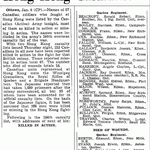 Newspaper Clipping– Rifleman WILSON MAJOR was reported killed in Action in the Canadian Army¿s 243rd  overseas casualty list  of the war published in the Globe and Mail on January 9, 1943.