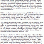 Canada and the Defence of Hong Kong– Source: Veterans Affairs Canada