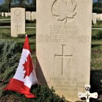 Cemetery– Photo of Pte. Joseph Okemasis's tombstone at the Moro River Canadian War Cemetery  Ortona, Italy.