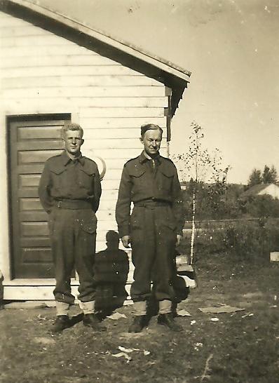 "Photo of JOHN CHARLES SAARIMAKI– Back of the photo states "" Earl Neva of Copper Cliff and John Saarimaki at Prince George"