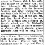 Coupure de presse – Du Toronto Star octobre 1944. Soumis pour le projet Operation Picture Me.