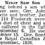 Newspaper Clipping– Source: Hamilton Spectator November 17, 1944
