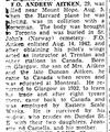 Coupure de Journal – De le Toronto Star, août 1945. Soumis pour le projet Opération Photo Moi